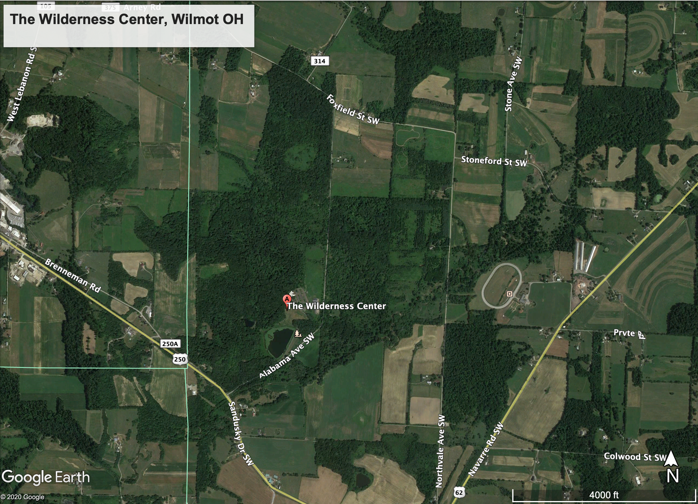 Aerial view of The Wilderness Center in Wilmot Ohio